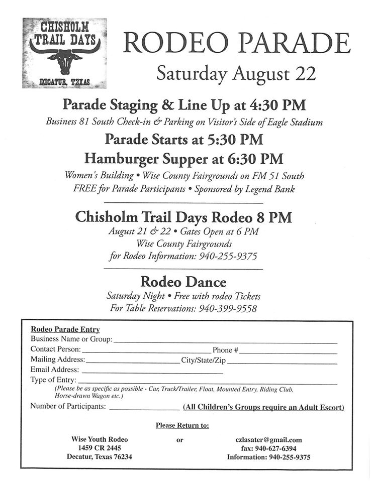 Chisholm Trail Rodeo Parade Registration
